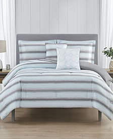 Relaxed Stripe Reversible 5-Pc King Comforter Set