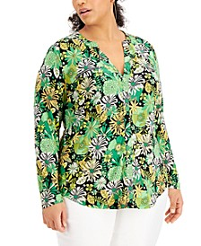 INC Plus Size Vibrant Floral Zip-Pocket Top, Created for Macy's