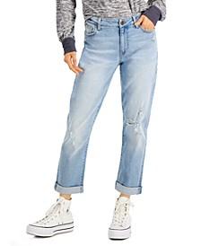 Juniors' Distressed Cuffed Boyfriend Jeans