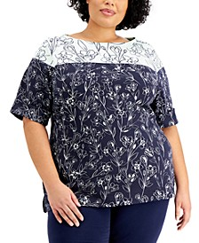 Plus Size Printed Boat-Neck Top, Created for Macy's