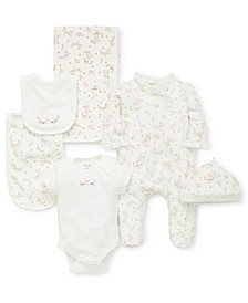 Baby Girls 6-Pc. Cotton Vintage Rose Gift Set