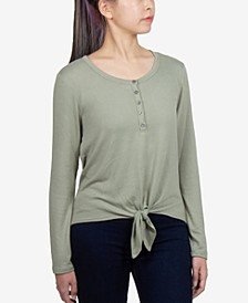 Juniors' Soft Tie-Front Henley Top
