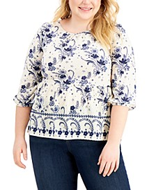 Plus Size Textured Peplum Top, Created for Macy's