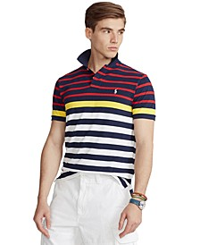 Men's Classic-Fit Striped Mesh Polo Shirt