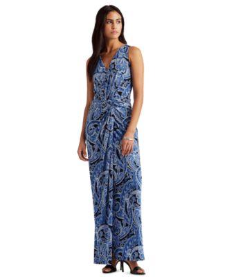 로렌 랄프로렌 Lauren Ralph Lauren Petite Paisley Twist-Front Jersey Dress,Navy/Blue Multi