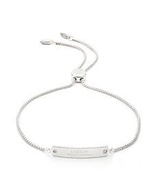 Sterling Silver and Diamond Dogtag Slider Bracelet