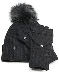 2-Pc. Beanie & Flip-Top Gloves Set