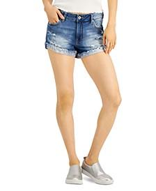 Juniors' Flipped Frayed-Hem Jean Shorts