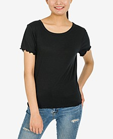 Juniors' Lettuce-Edge Ribbed T-Shirt
