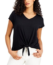 Tie-Hem T-Shirt, Created for Macy's, Regular & Petites