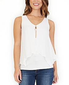 Juniors' Split-Back Popover Blouse With Necklace