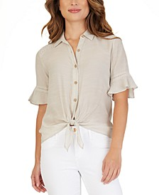 Juniors' Crochet-Trimmed Tie-Hem Blouse