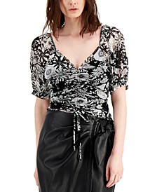INC Plus Size Floral-Print Ruched Top, Created for Macy's