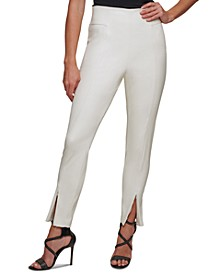 Faux-Leather Side-Zip Skinny Ankle Pants