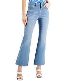 INC Petite High-Rise Button-Front Flare-Leg Jeans, Created for Macy's