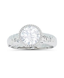 Cubic Zirconia Milgrain Bezel Set Hammered Ring