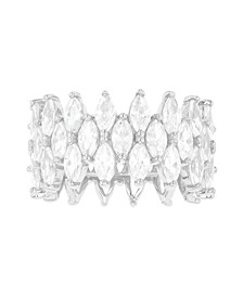 Cubic Zirconia 3-Row Marquise Cut Ring