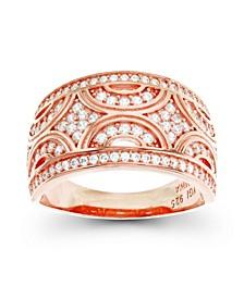 Cubic Zirconia Pave Designed Ring