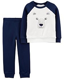Toddler Boys Bear Fuzzy Pullover and Jogger Set, 2 Piece