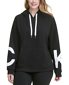 Plus Size Dropped-Shoulder Hooded Logo Sweatshirt