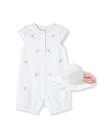Baby Girls Floral Bud Romper with Hat