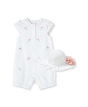 LITTLE ME BABY GIRLS FLORAL BUD ROMPER WITH HAT