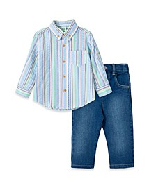 Baby Boys Multi Stripe Woven Pant Set