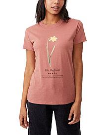 Women's Classic Birthday Flower Graphic T-shirt