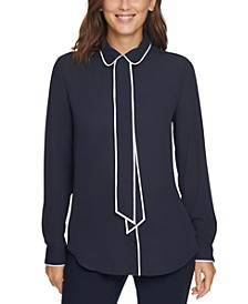 Piped-Trim Button-Up Blouse