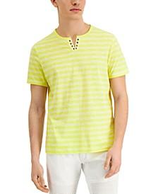 Men's Textured Stripe Split-Neck T-Shirt, Created for Macy's