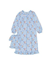 Frozen Big Girl Nightgown with Matching Doll Nightgown