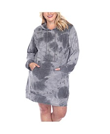Women's Plus Size Hoodie Tie Dye Sweatshirt Dress