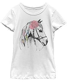 V- Line Big Girl's Horse Love Short Sleeve T-Shirt