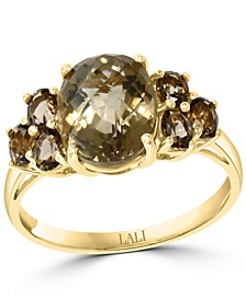 Smoky Quartz Cluster Statement Ring (3 ct. t.w.) in 14k Gold