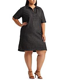 Plus-Size Denim Shift Dress