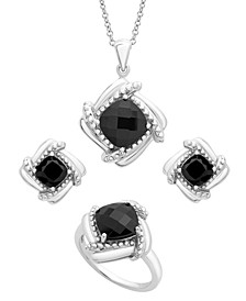 Onyx Box Set (Pendant, Earrings & Ring) in Sterling Silver