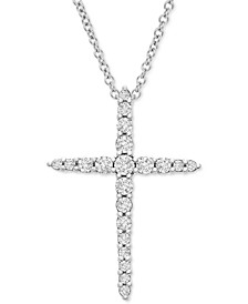 "Diamond Cross 20"" Pendant Necklace (1/2 ct. t.w.) in Platinum, Created for Macy's"