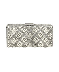 Diamond Pattern Pearl and Crystal Box Clutch