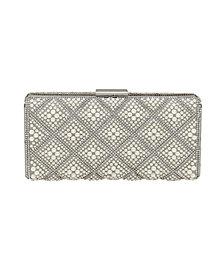 La Regale Diamond Pattern Pearl and Crystal Box Clutch
