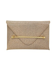 Sparkle Jacquard Envelope Clutch with Bar Detail