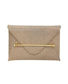 La Regale Sparkle Jacquard Envelope Clutch with Bar Detail
