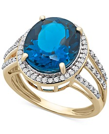 London Blue Topaz (5-1/2 ct. t.w.) & Diamond (1/4 ct. t.w.) Statement Ring in 14k Gold