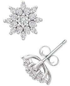 Diamond Flower Cluster Stud Earrings (1/2 ct. t.w.) in Platinum, Created for Macy's