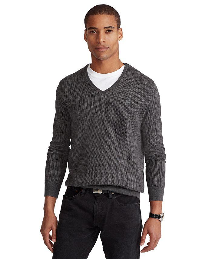 Polo Ralph Lauren - Men's Herringbone V-Neck Sweater