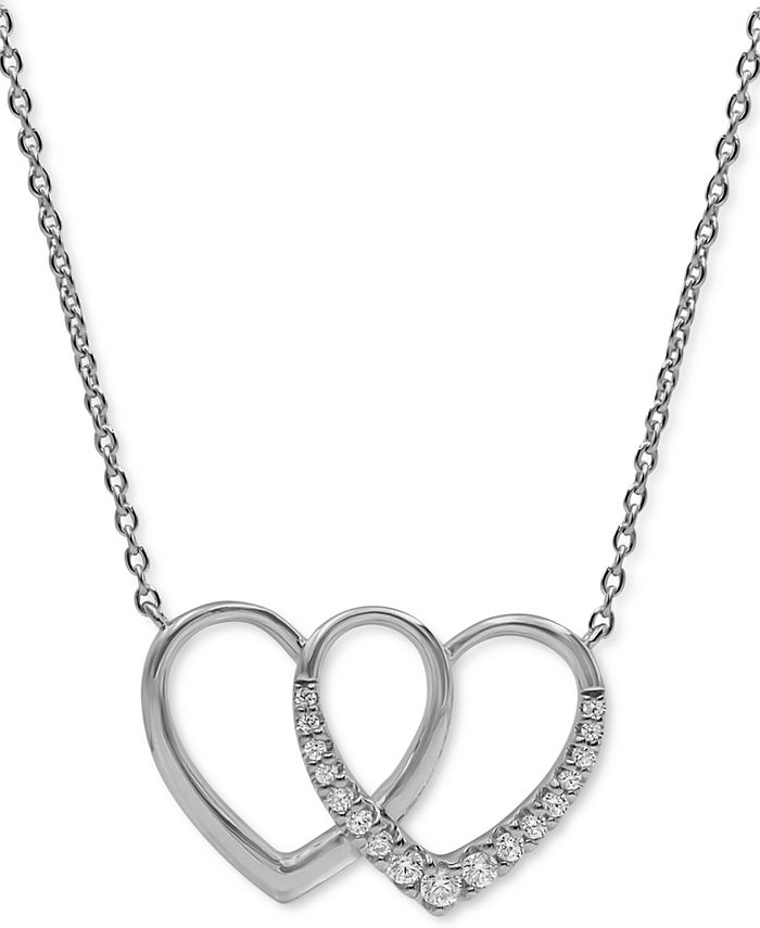 "Macy's - Diamond Double Heart 18"" Pendant Necklace (1/5 ct. t.w.) in 10k White Gold"