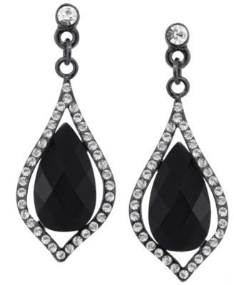 Image of 2028 Silver-Tone Caged Jet Stone and Crystal Drop Earrings, a Macy's Exclusive Style