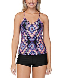 Juniors' Nepal Nights Printed Macrame Back Tankini & Raisins Juniors' Ruched Swim Shorts
