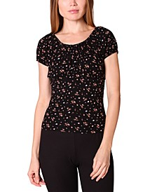 Juniors' Ruched Floral-Print Top