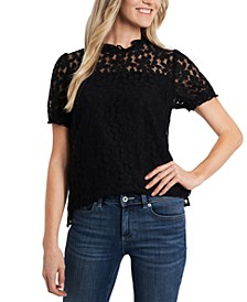 Puff-Sleeve Lace Blouse