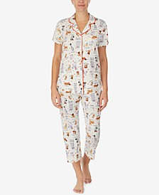 Notched Top & Cropped Pajama Pants Set